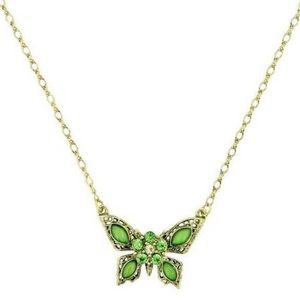 Green Butterfly Pendant Necklace 1928 Jewelry